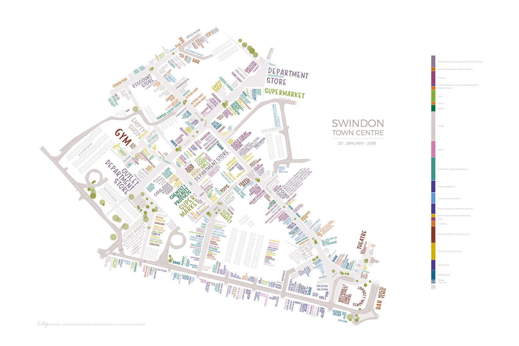 typographic map of Swindon town centre